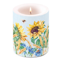 Candles big SUNFLOWER AND WHEAT blue  , Ambiente
