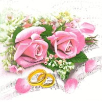 WEDDING RINGS & PINK ROSES, Maki